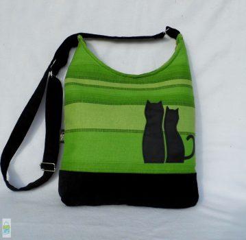 Cica románc - íves táska/zöld