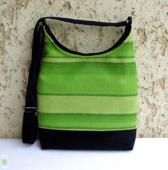 Zöld csíkos íves táska