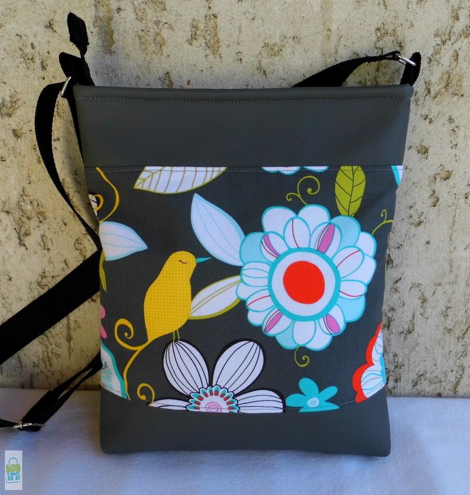 Szürke virágos női táska - BagiraDesign 95ef074f4f