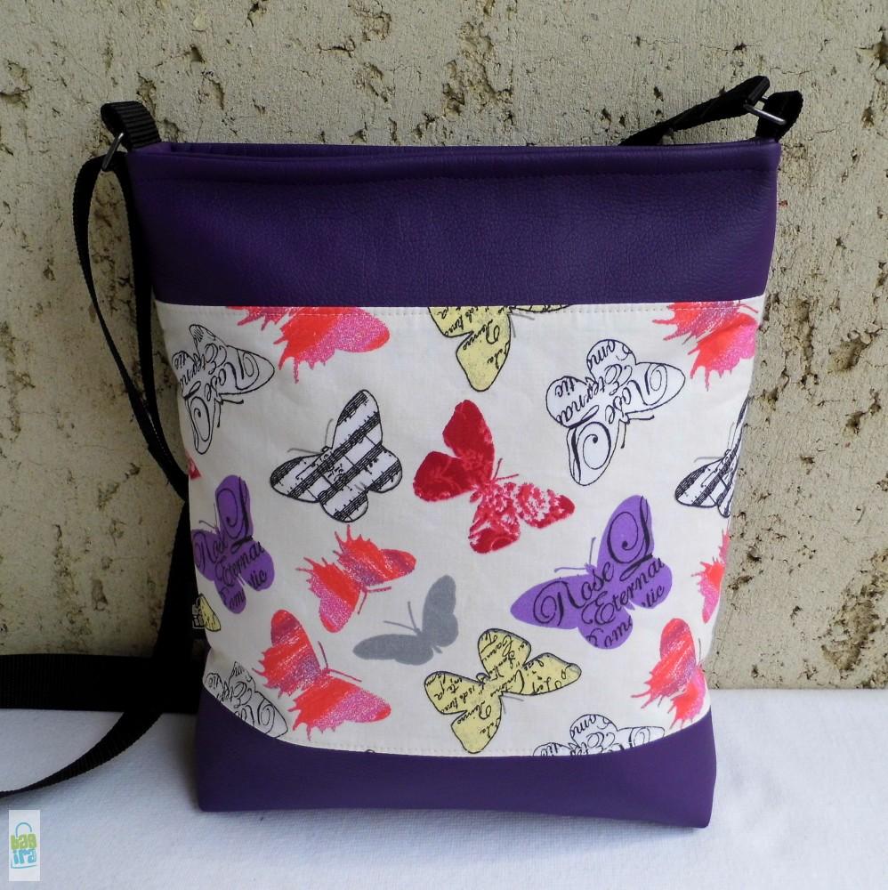 Lepkés női táska  lila - BagiraDesign 93d4c36311