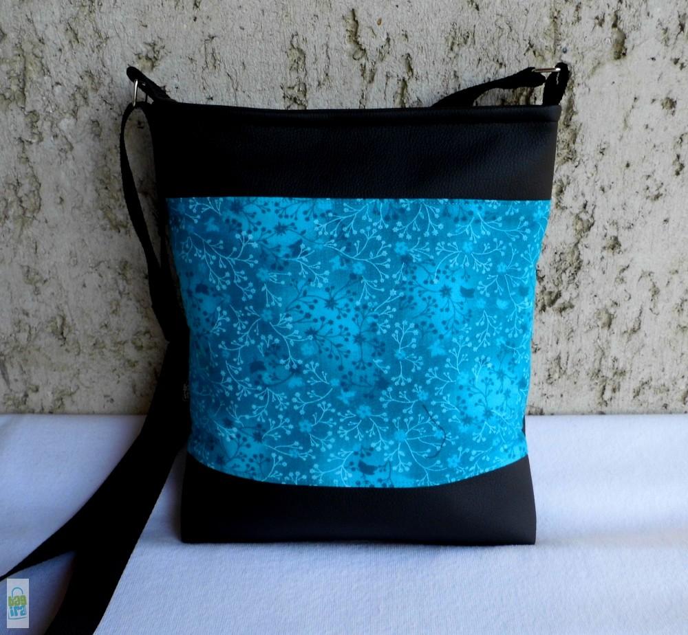 Türkiz virágos női táska - BagiraDesign 6a8e98612e