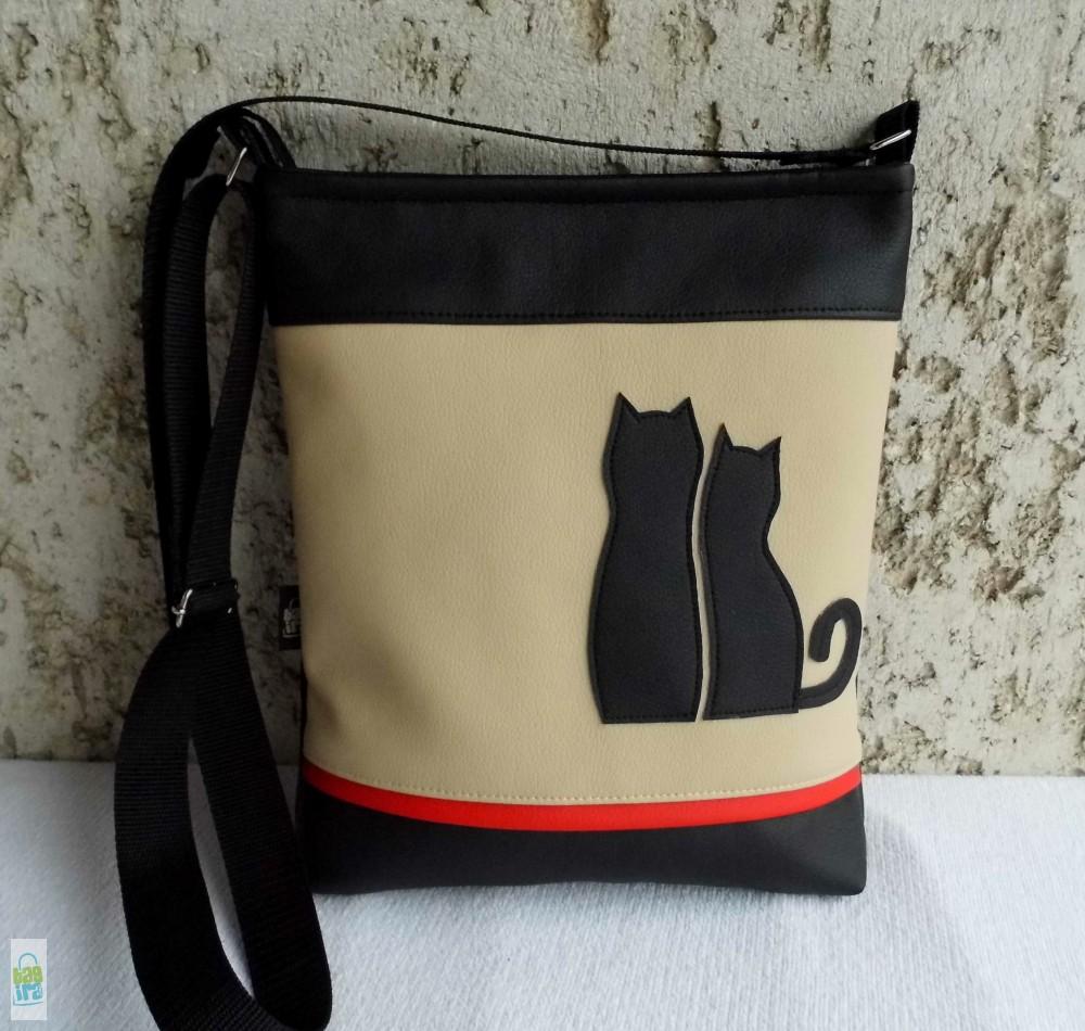 Cica románc - női táska  beige - BagiraDesign e5bb835d09
