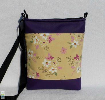 Lila virágos női táska
