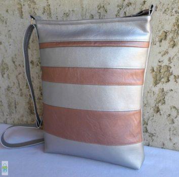 Csíkos táska / ezüst-lazac
