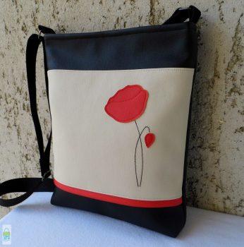 Pipacsos női táska / krém