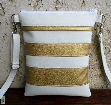 Csíkos kistáska - Fehér/arany