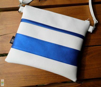 Csíkos kistáska - fehér/kék