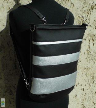 Csíkos hátitáska / fekete-ezüst