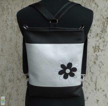 Firkavirágos hátitáska - fekete/ezüst