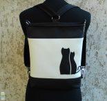 Cica románc hátitáska - fekete/fehér