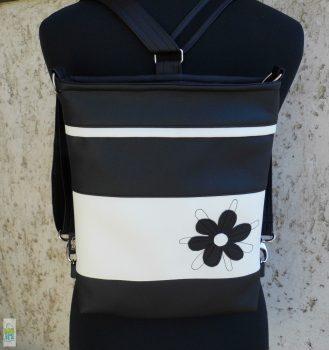 Firkavirágos hátitáska - fekete/fehér