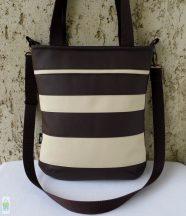 Csíkos női táska / barna-krém