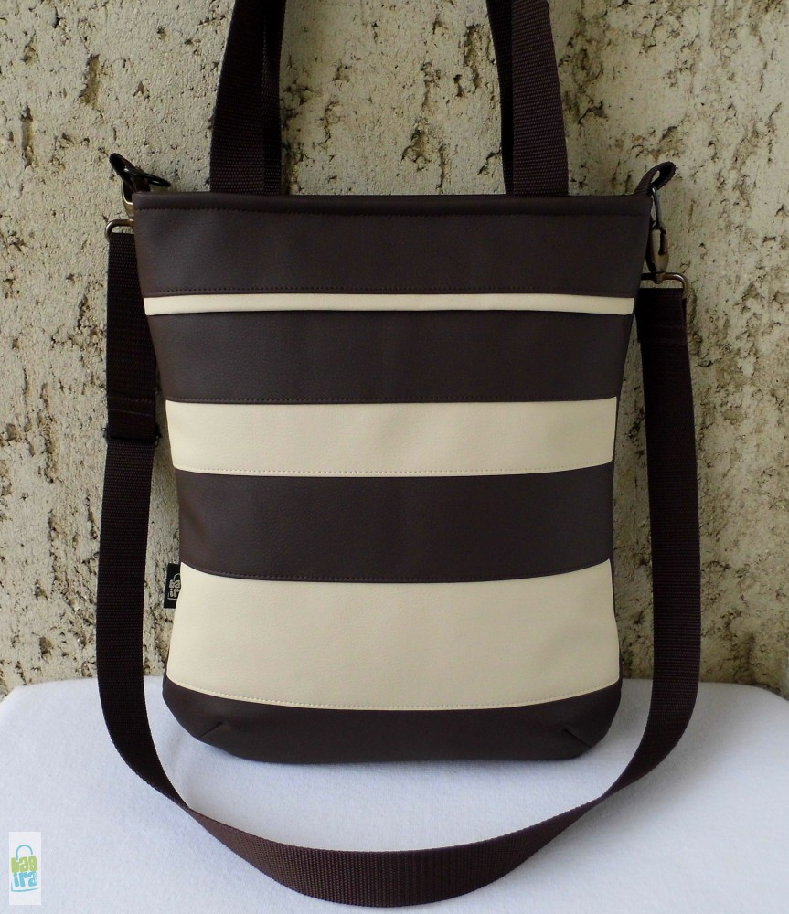 Csíkos női táska   barna-krém - BagiraDesign ea49fdba54