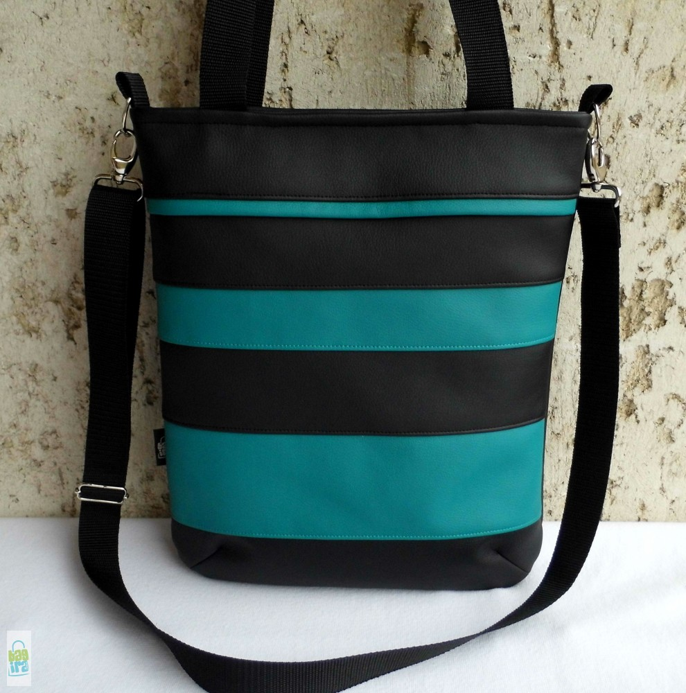 Csíkos női táska   fekete-türkiz - BagiraDesign 34149921ce