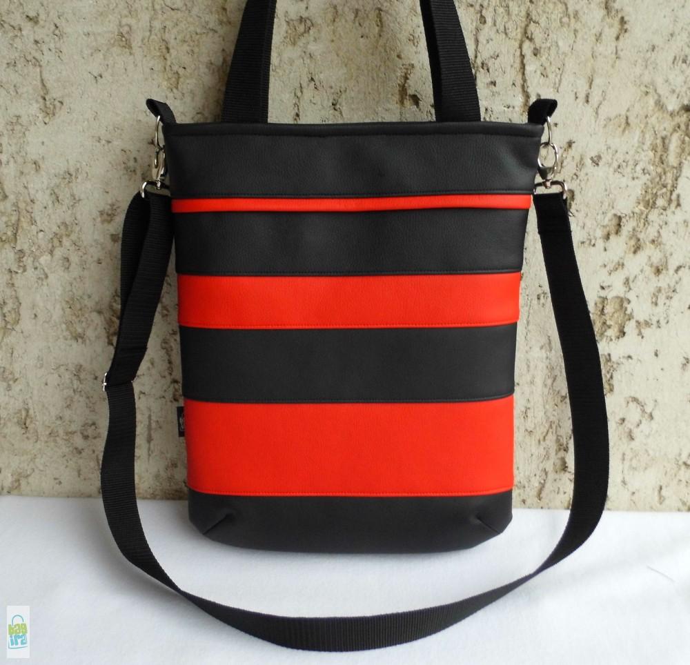 Csíkos női táska   fekete-piros - BagiraDesign f4af5813ac