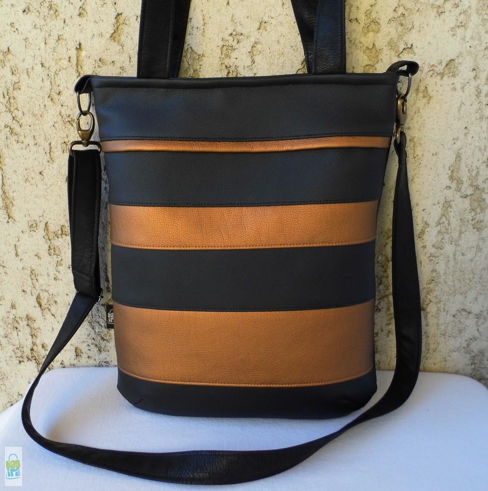 Csíkos női táska   fekete-bronz - BagiraDesign 413f4acf2c