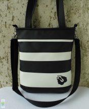 Csíkos női táska / fekete-fehér