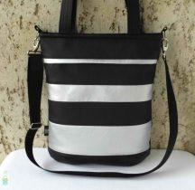 Csíkos női táska / fekete-ezüst