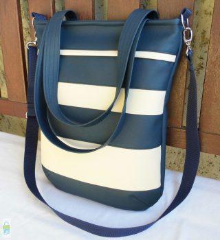 Csíkos női táska / kék-krém