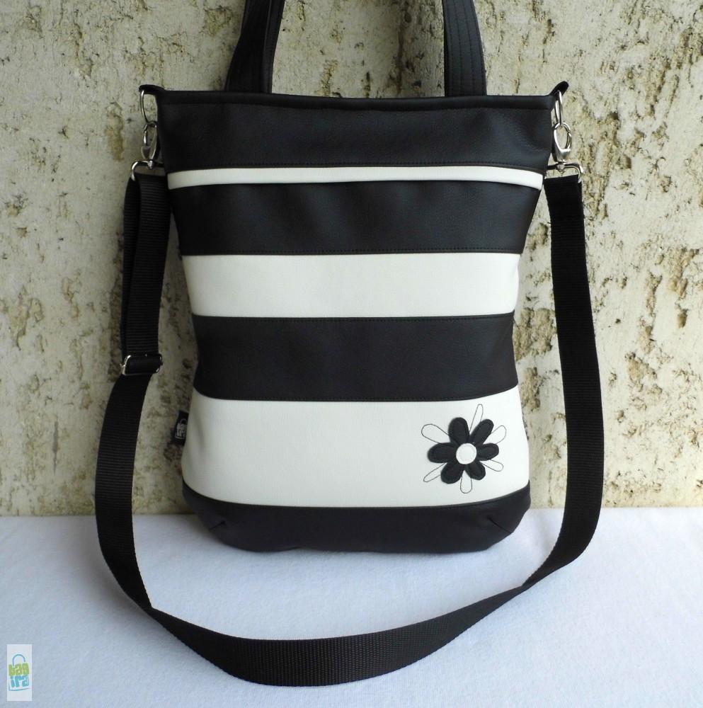 Csíkos női táska firkavirággal - BagiraDesign a1b96e8f3a