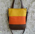 Háromszínű textilbőr táska